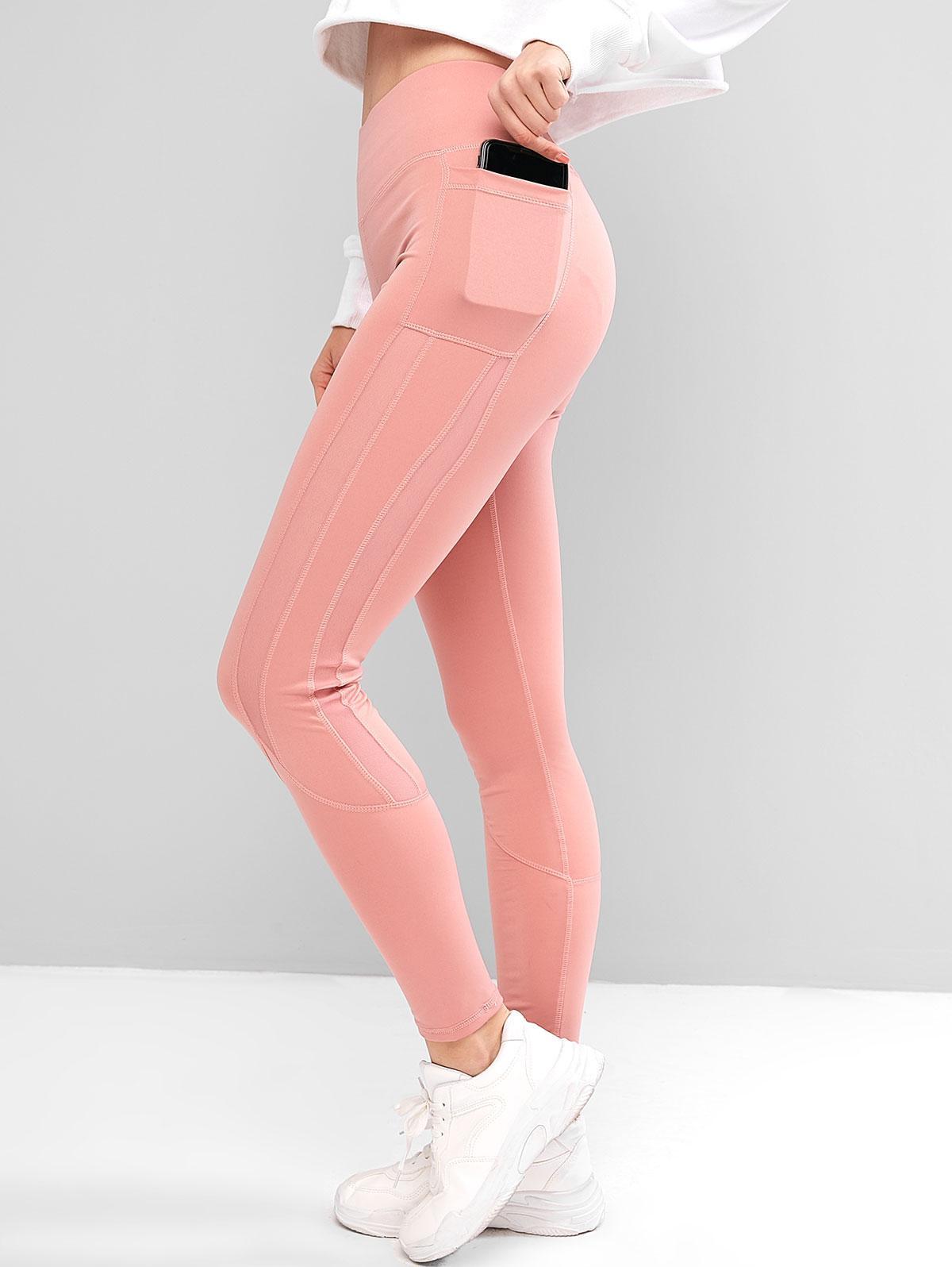 Side Pockets Mesh Insert High Waisted Leggings, Pink