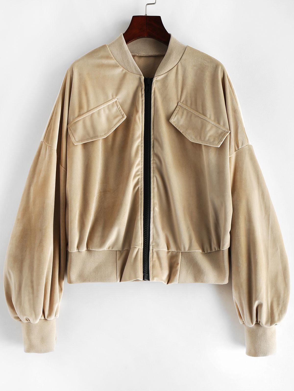 ZAFUL Ruched Sleeve Velvet Jacket
