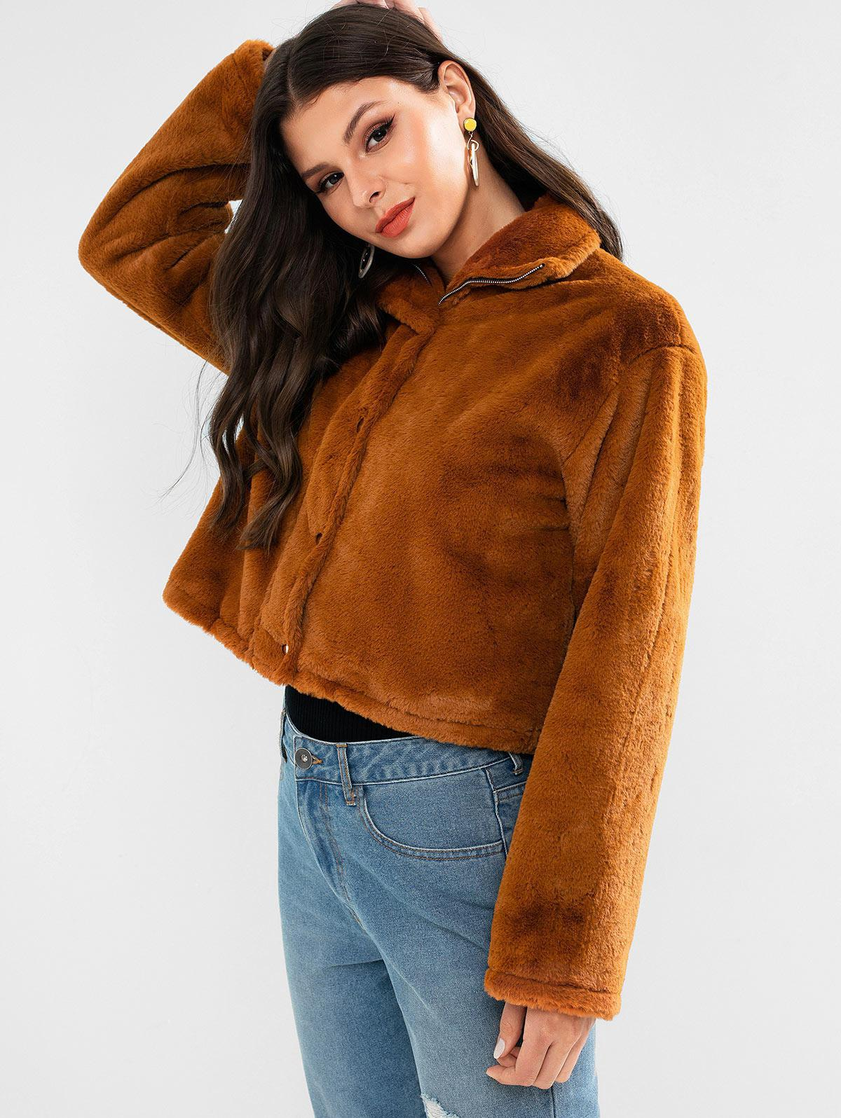 ZAFUL Faux Fur Drop Shoulder Zipper Coat
