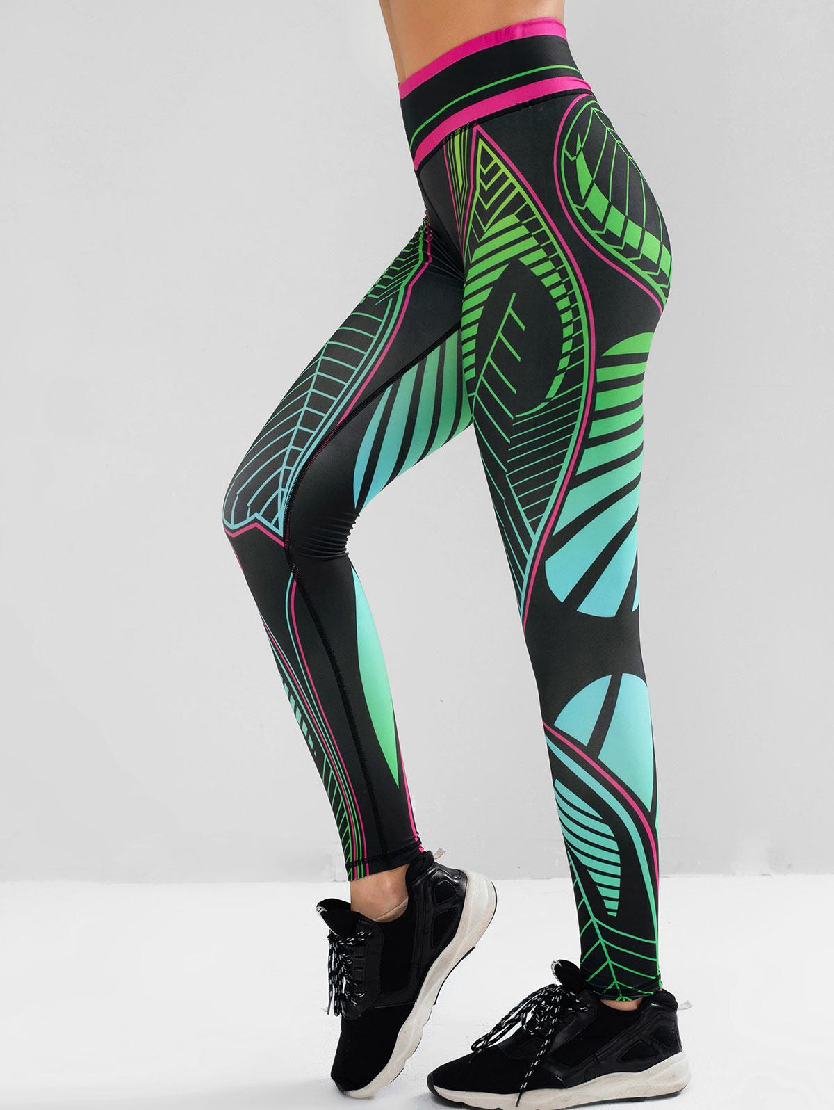 Contrast Printed Mid Waist Sports Leggings