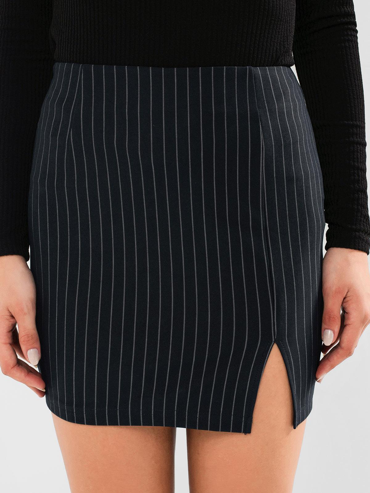 ZAFUL Striped Slit Bodycon Skirt фото