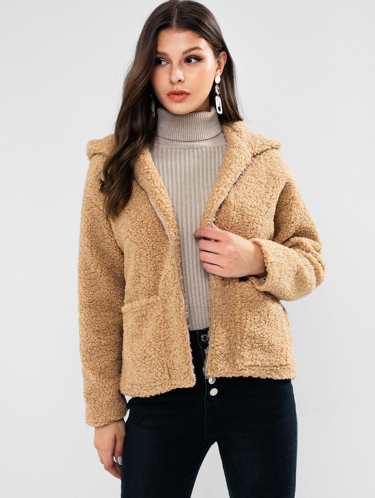 ZAFUL Bear Ear Drop Shoulder Pocket Teddy Coat