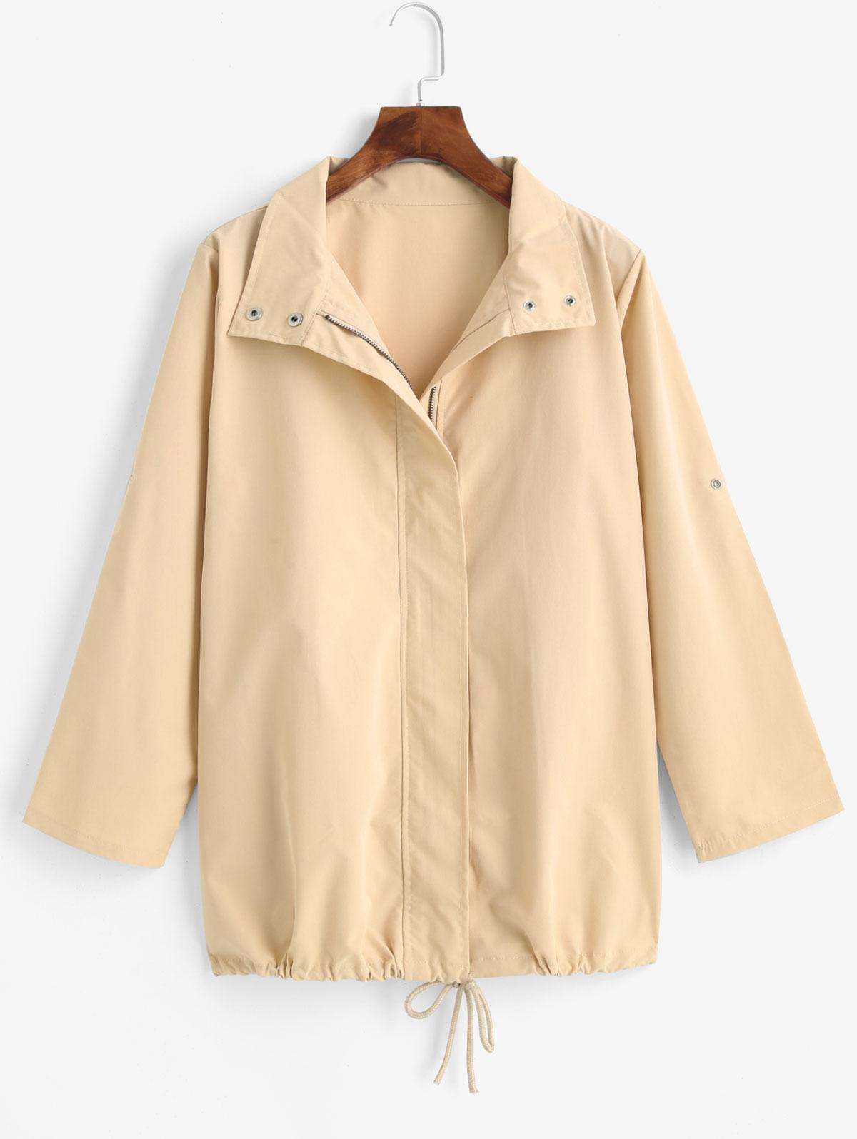 Drawstring Hem Roll Up Sleeve Zipper Trench Coat