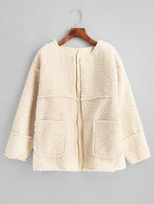 Patched Pockets Open Front Teddy Jacket