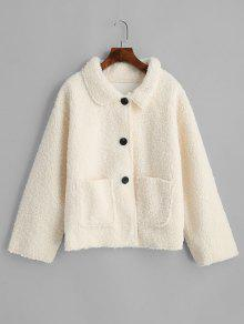 Button Up Patched Pockets Teddy Jacket