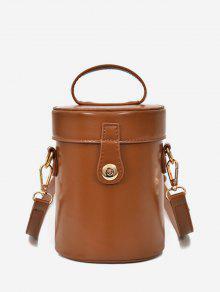 أعلى مقبض PU جلدية اسطوانة حقيبة - البني الفاتح