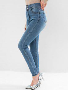 عالية مخصر اثنين زر نحيل جيب جينز - ازرق L