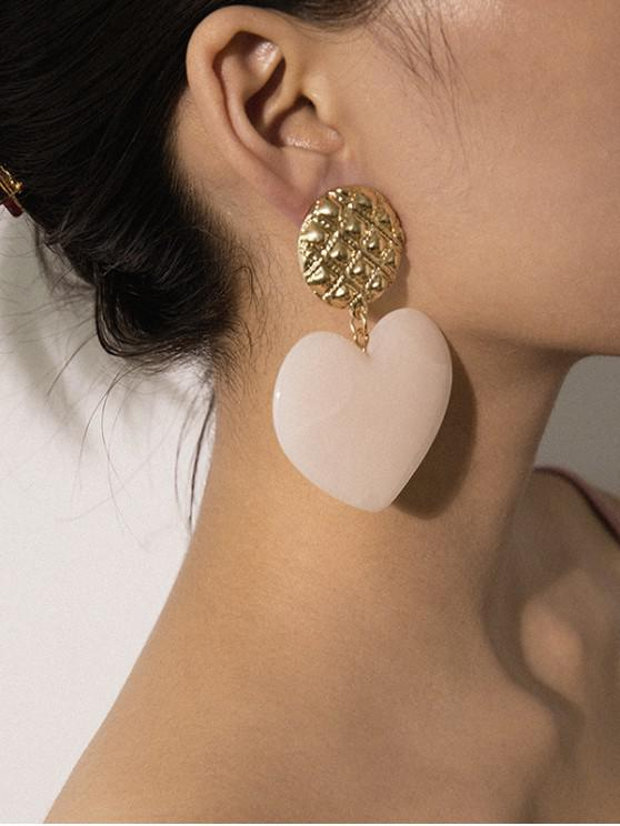 chic Carved Round Heart Drop Earrings - PINK