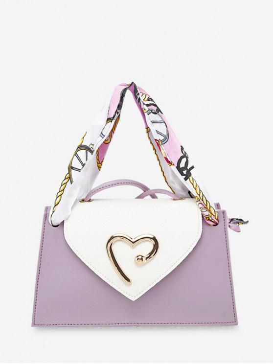 心臟絲帶單肩斜挎錢包 - 淡紫色