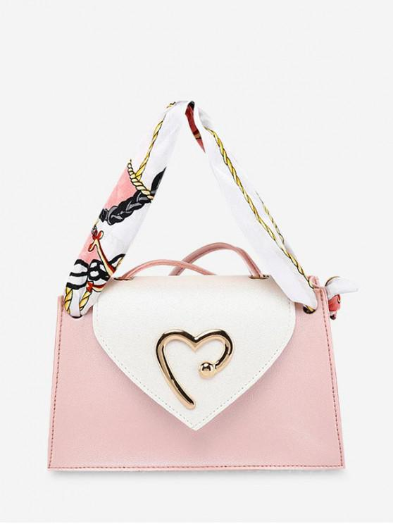 affordable Heart Ribbon Messenger Shoulder Purse - LIGHT PINK