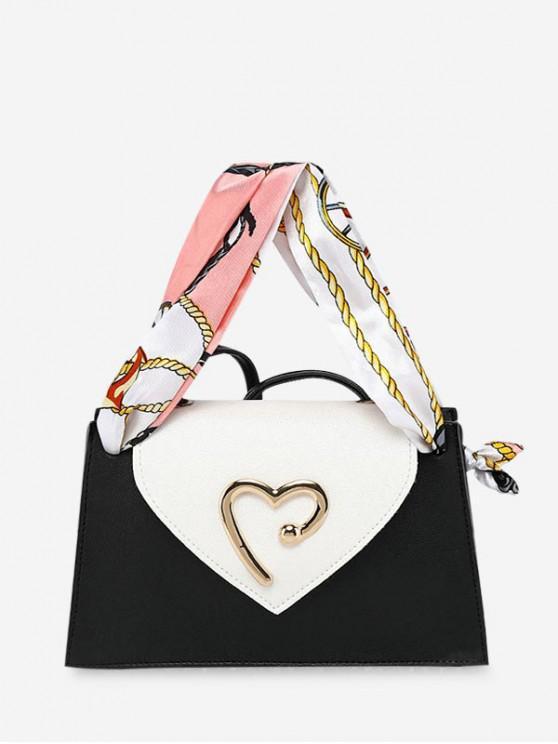 best Heart Ribbon Messenger Shoulder Purse - BLACK