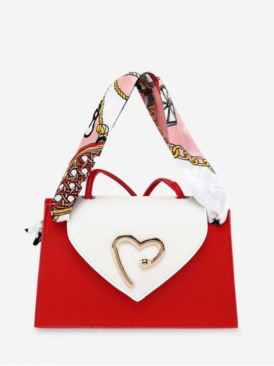 心臟絲帶單肩斜挎錢包 - Rosso Red