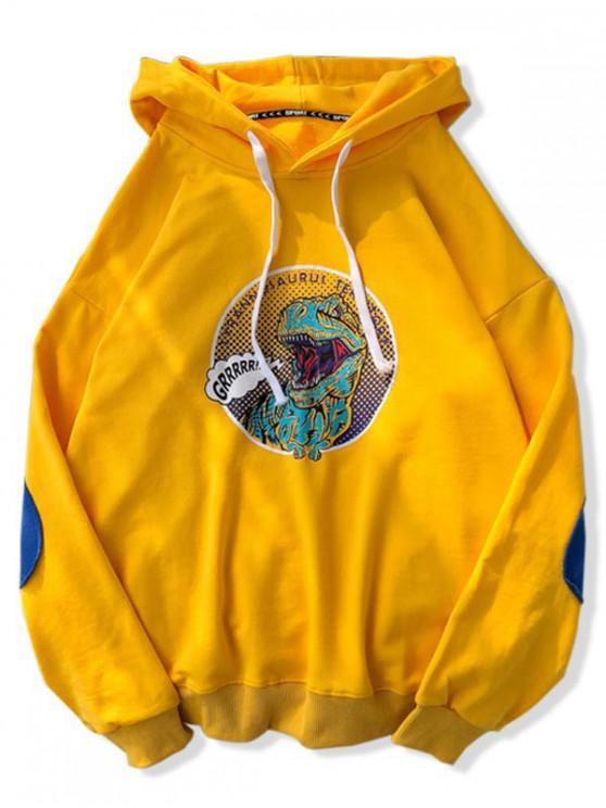 Dinosaurio de dibujos animados de impresión con capucha con cordón - Amarillo 2XL