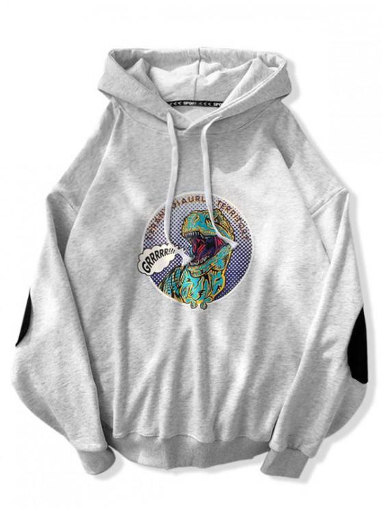 fashion Cartoon Dinosaur Print Drawstring Hoodie - LIGHT GRAY L