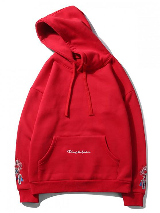 chic Beijing Opera Face Embroidered Hoodie - RED XL