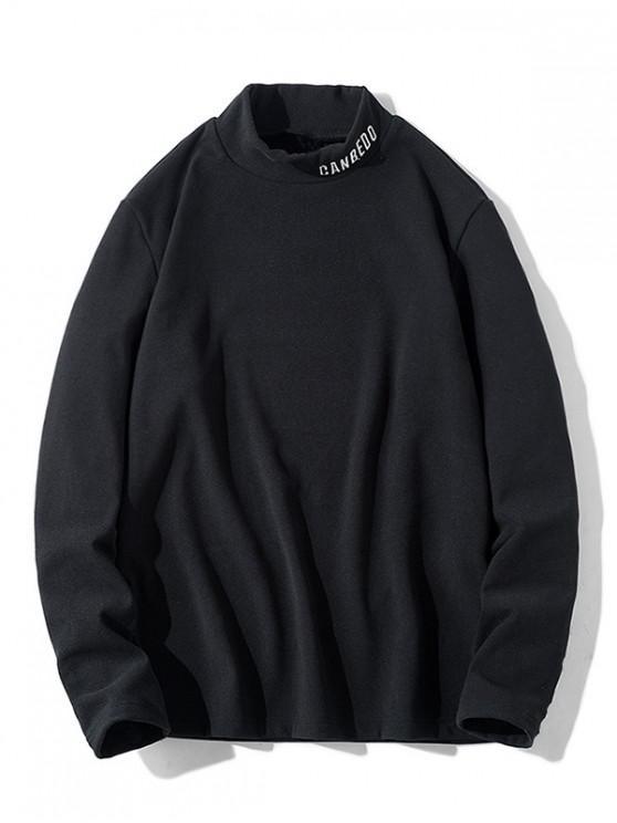 new Letter Pattern Full Sleeves Casual T-shirt - BLACK M