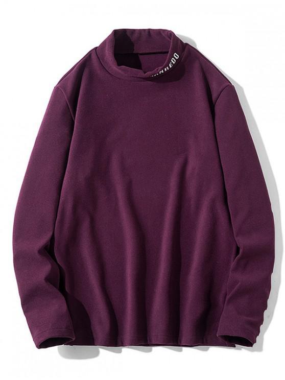 T-shirt Décontracté Motif de Lettre à Manches Longues - Rouge Vineux S
