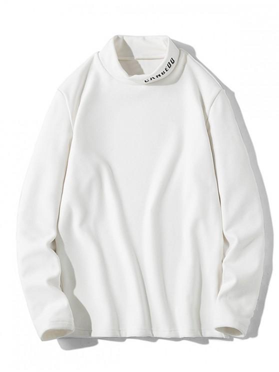 Patrón de la letra mangas camiseta ocasional - Blanco XS