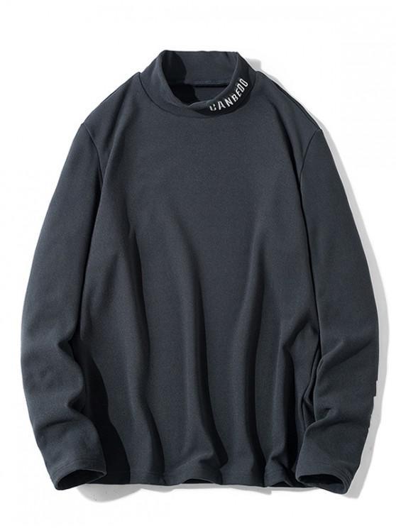 women Letter Pattern Full Sleeves Casual T-shirt - DARK GRAY M