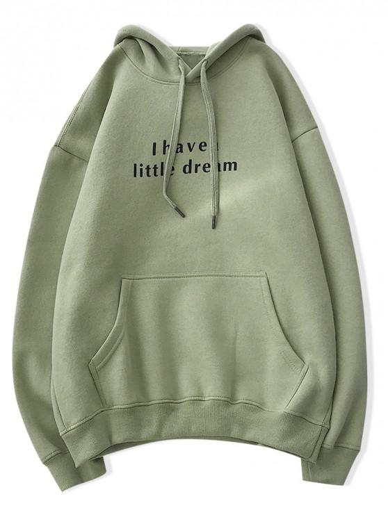 buy Letter Text Fleece Drop Shoulder Drawstring Hoodie - LIGHT GREEN 2XL