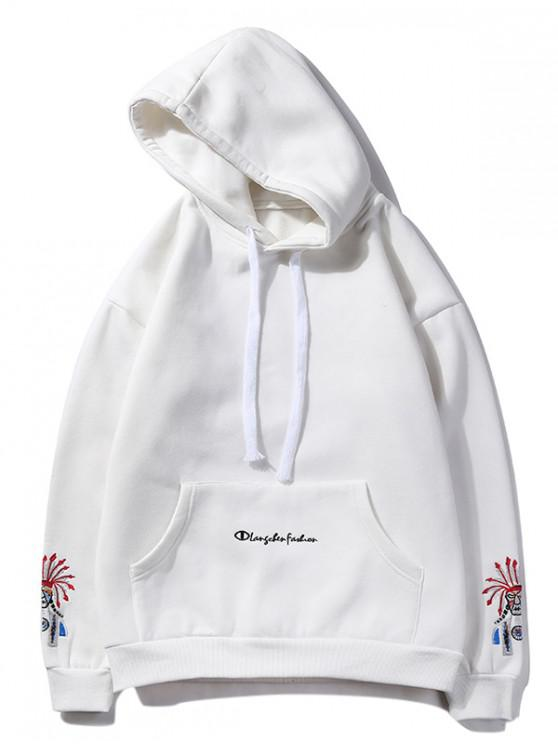 chic Beijing Opera Face Embroidered Hoodie - WHITE L