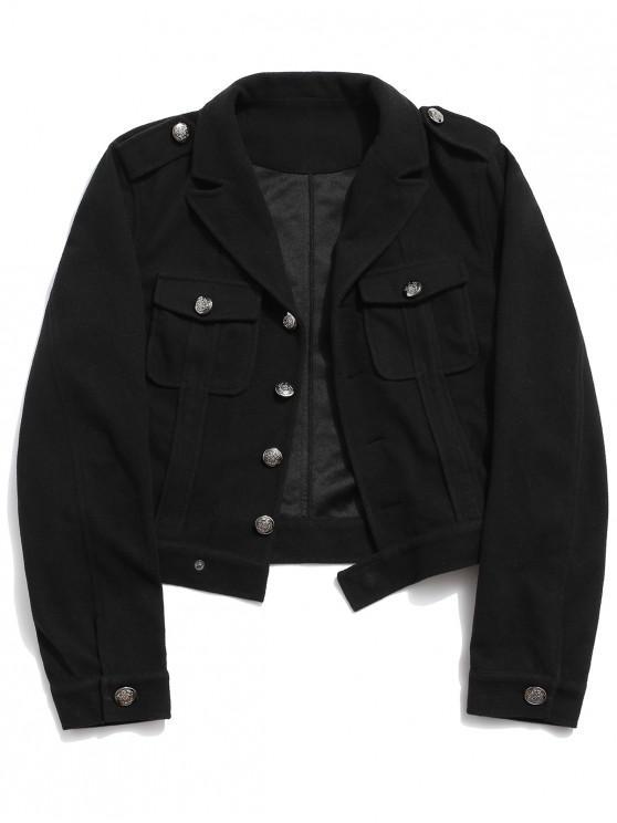 Lässige Tasche Dekoration Button Up Jacke - Schwarz XL