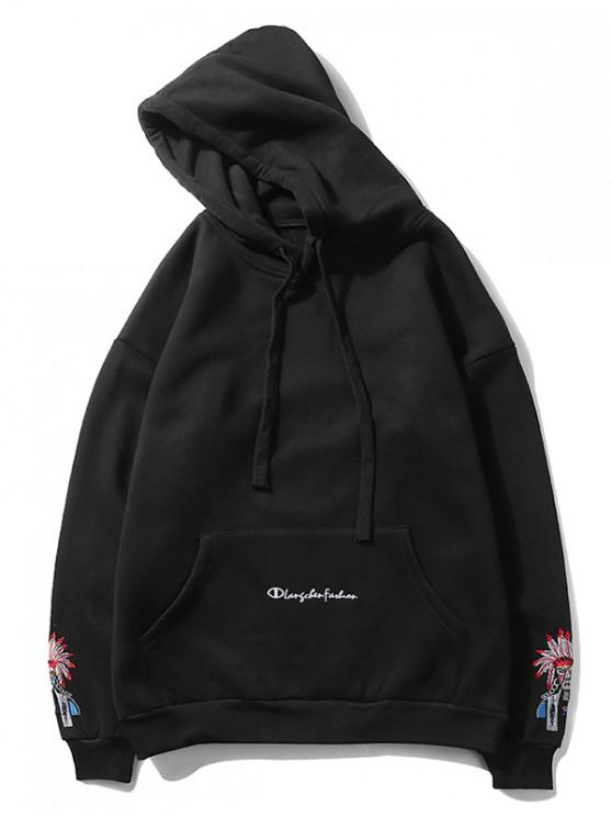 lady Beijing Opera Face Embroidered Hoodie - BLACK L