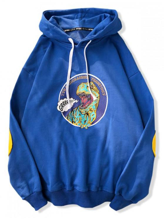 womens Cartoon Dinosaur Print Drawstring Hoodie - BLUEBERRY BLUE XL