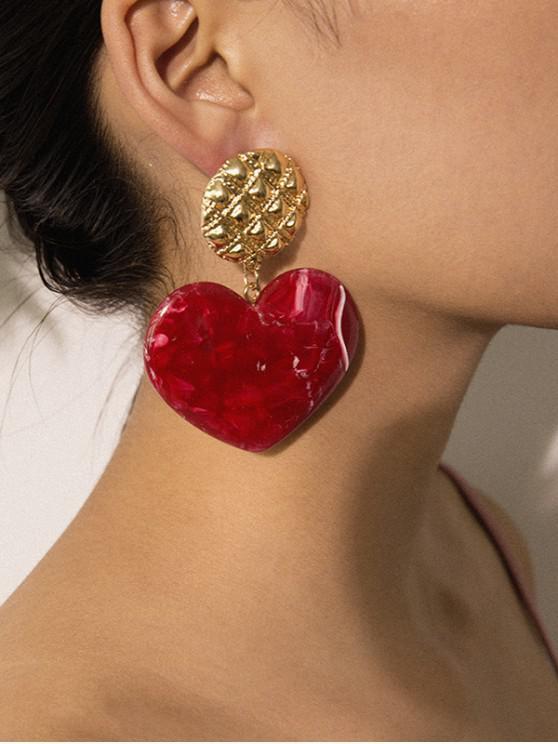 Pendientes Redondos Corazón tallado caída - Rojo