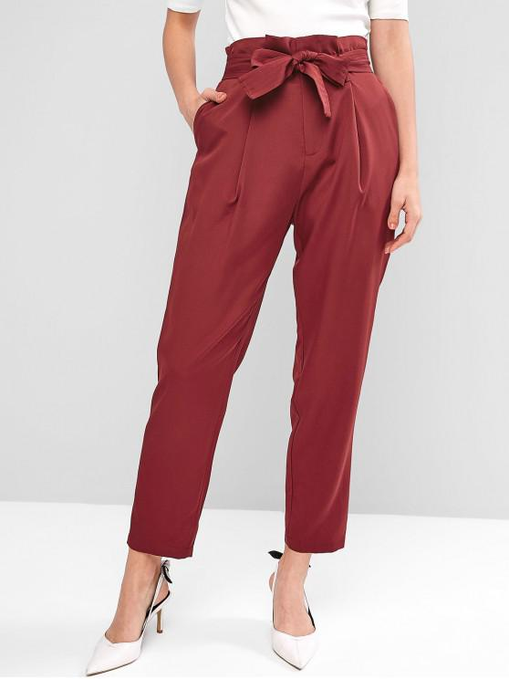 affordable ZAFUL Pleated-detail Paperbag Pants - RED WINE S