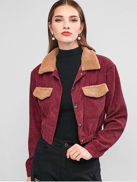sale ZAFUL Faux Shearling Panel Corduroy Jacket - RED WINE XL