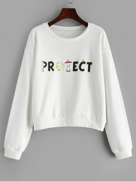 ZAFUL Sweat-shirt Slogan Imprimé - Blanc S