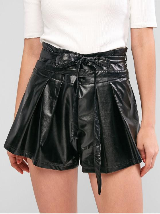 fancy ZAFUL Faux Leather Belted Wide Leg Shorts - BLACK L