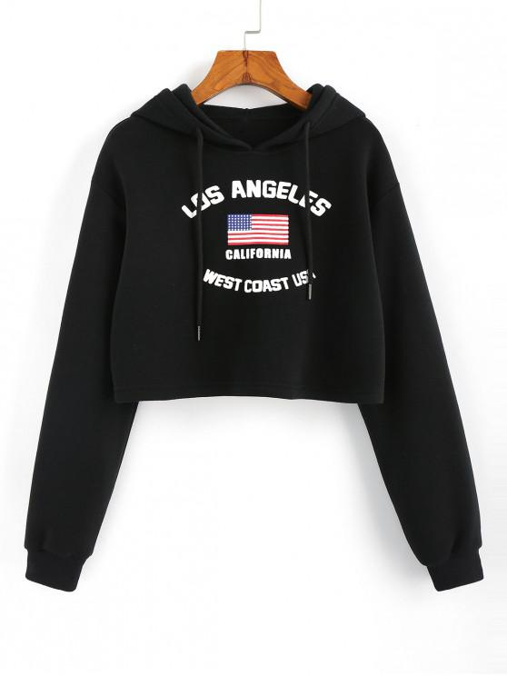 fashion American Flag Graphic Cropped Hoodie - BLACK L