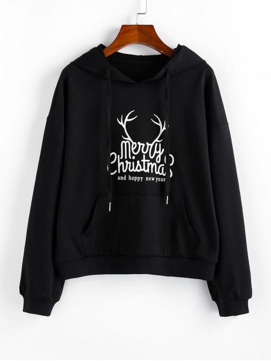 affordable ZAFUL Christmas Graphic Drop Shoulder Front Pocket Hoodie - BLACK S