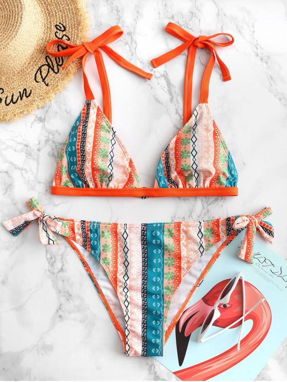 outfit ZAFUL Ethnic Print Tie Shoulder Plunge Bikini Swimsuit - ORANGE M