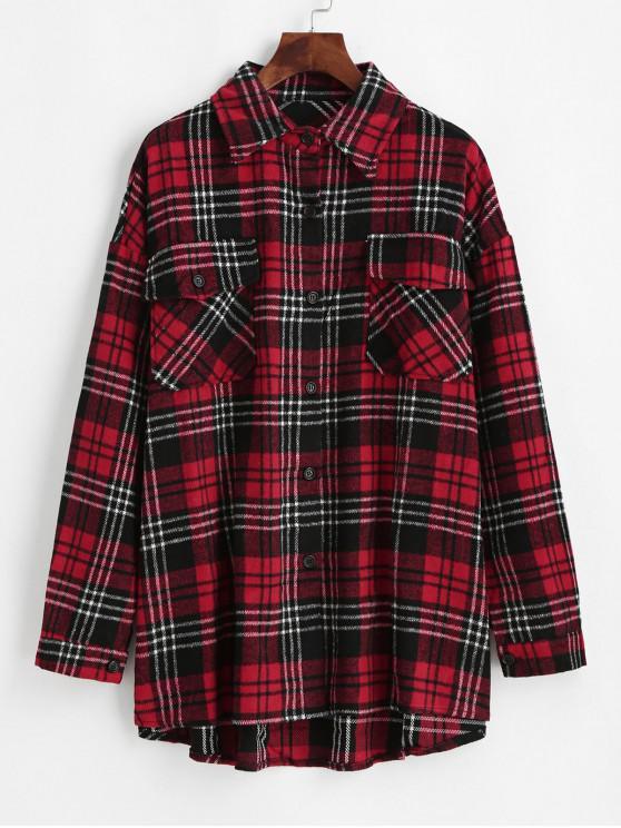 unique Flap Pockets Button Down Plaid Shirt - WHITE L