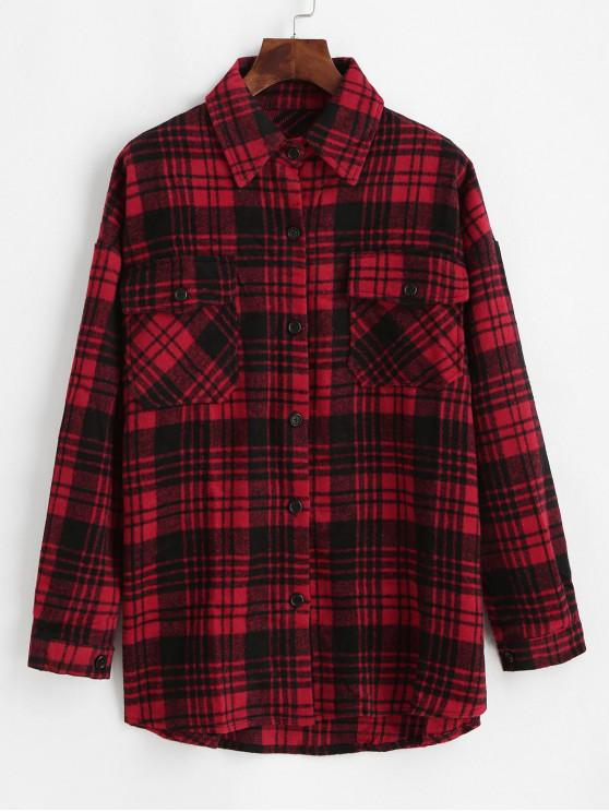 womens Flap Pockets Button Down Plaid Shirt - BLACK L