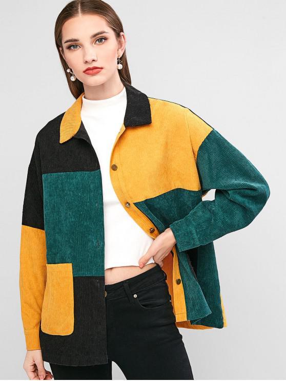 shop ZAFUL Corduroy Color-blocking Pocket Drop Shoulder Jacket - MULTI-A M