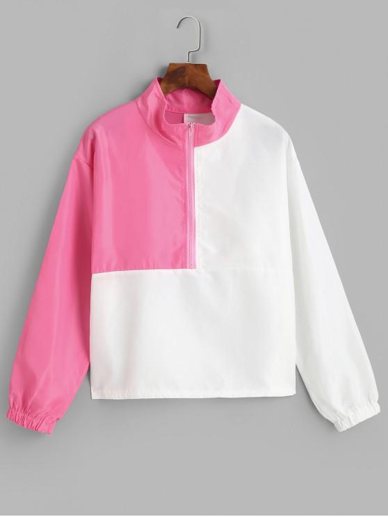 Sweat-shirt Coupe-vent en Blocs de Couleurs à Demi-zip - Multi-B S