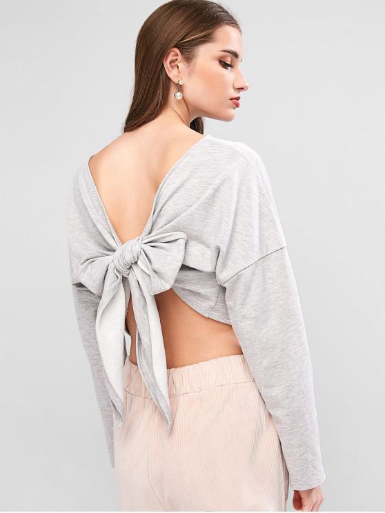 lady ZAFUL Drop Shoulder Pullover Tie Back Sweatshirt - LIGHT GRAY L