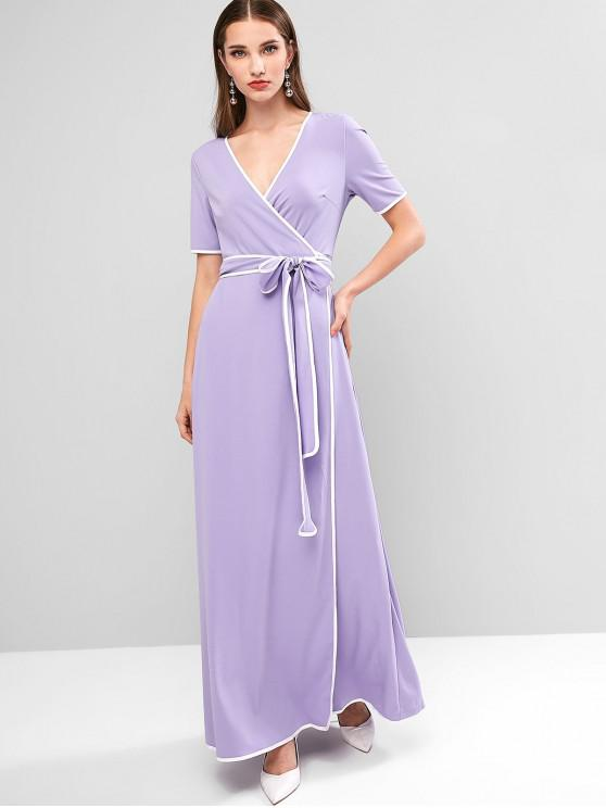outfit ZAFUL V Neck Ringer Maxi Wrap Dress - PURPLE MIMOSA L