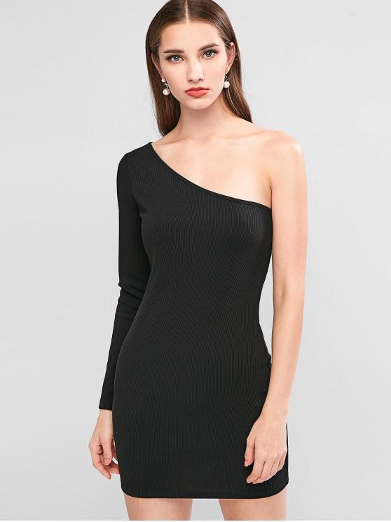 unique ZAFUL One Shoulder Ribbed Bodycon Dress - BLACK M