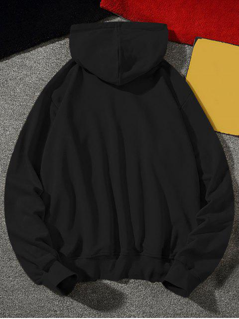 Carta texto Fleece gota del lazo de hombro con capucha - Negro M Mobile