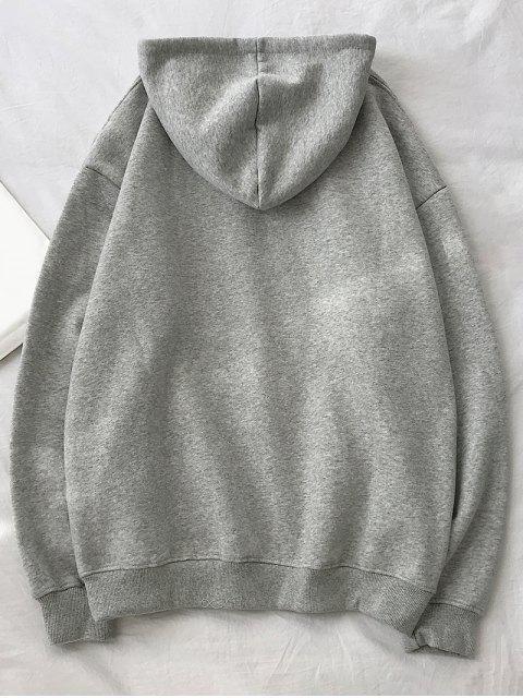 Carta texto Fleece gota del lazo de hombro con capucha - Gris Claro 2XL Mobile