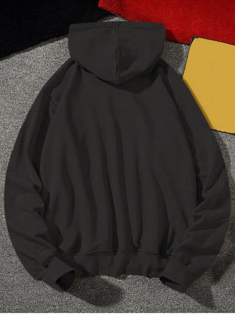Carta texto Fleece gota del lazo de hombro con capucha - Gris Oscuro L Mobile