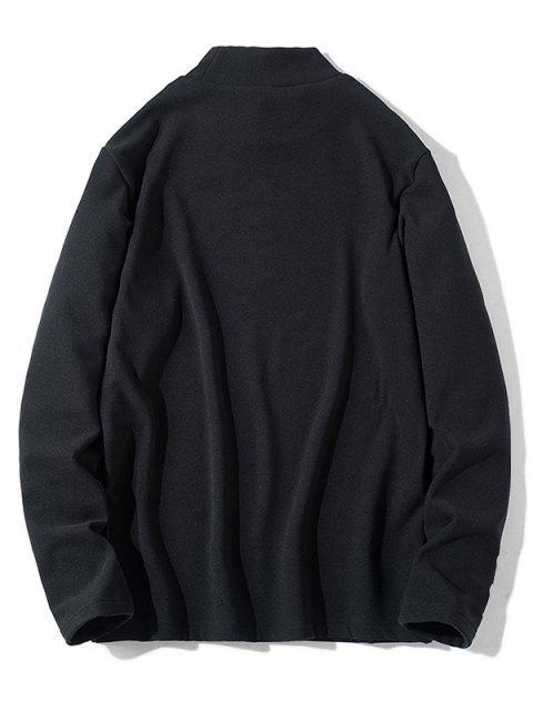 Patrón de la letra mangas camiseta ocasional - Negro S Mobile