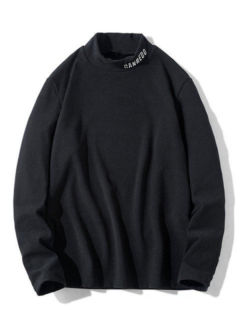 Patrón de la letra mangas camiseta ocasional - Negro M Mobile