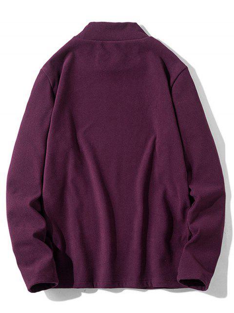 Patrón de la letra mangas camiseta ocasional - Vino Tinto S Mobile