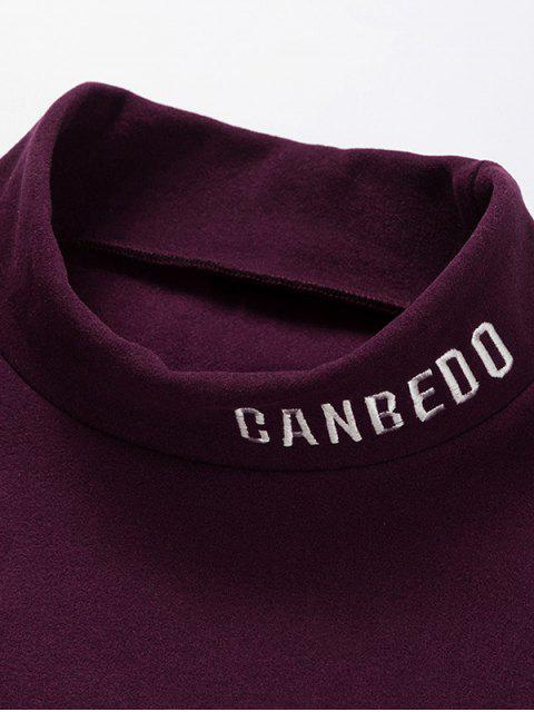 Patrón de la letra mangas camiseta ocasional - Vino Tinto M Mobile